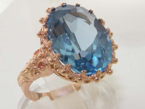14K Solid Rose Gold Large Lab Created Aquamarine Solitaire Cocktail Foliage Scroll Shoulder Ring  Made in England  Customize your Ring!