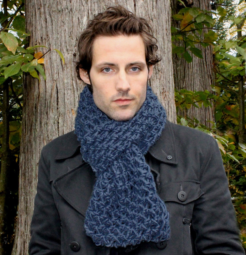 The Favorite Mens Cowl neck Scarf Wool winter chunky nautical navy  Cowl Neck Scarves Men