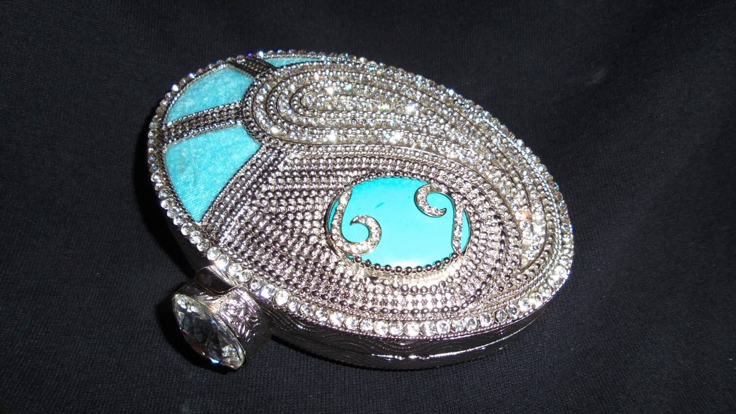 Silver metal clutch purse embellished with turquoise  white rhinestones AQUA OPTIMISM  bridesmaid gift  gifts for her  aqua clutch