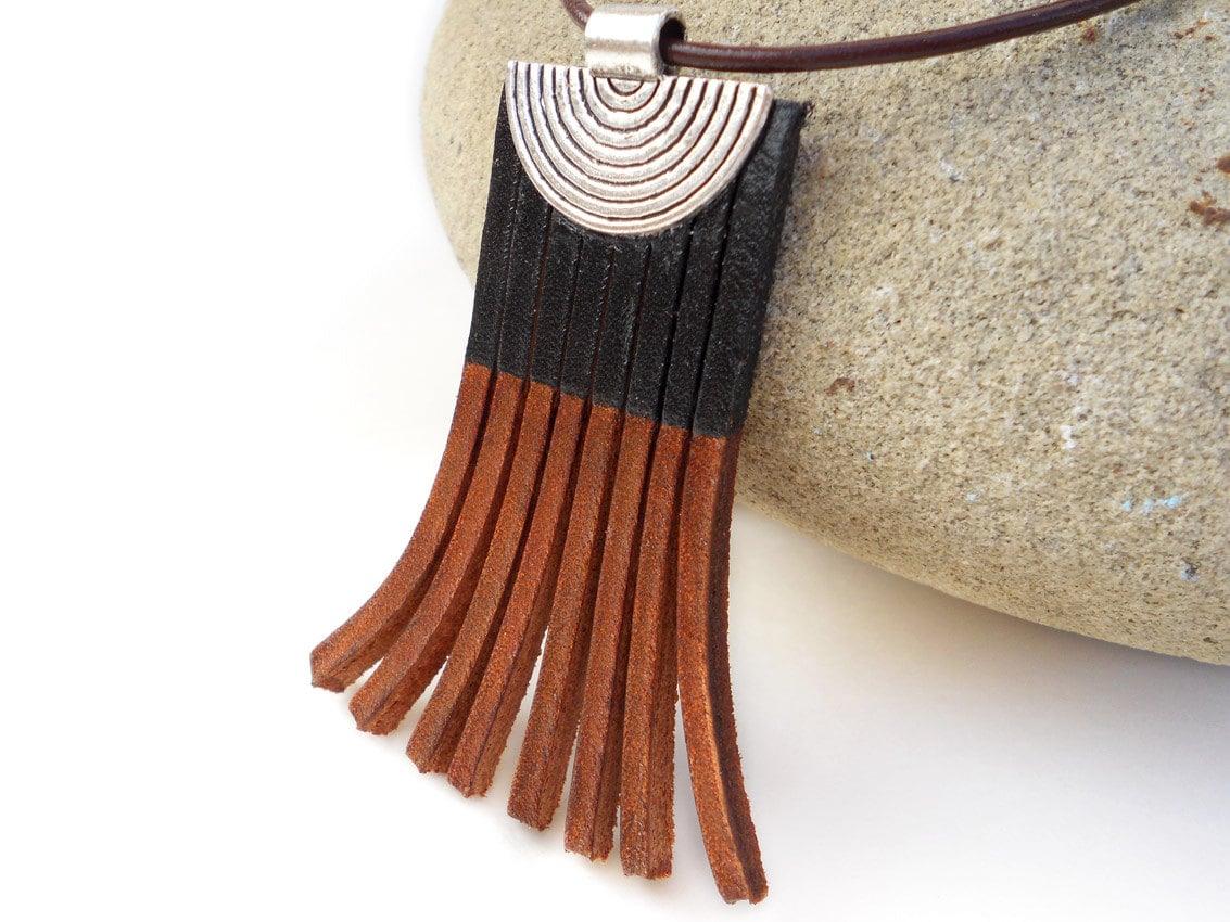 Leather Fringe  Necklace, Black and Brown - MishaGirl
