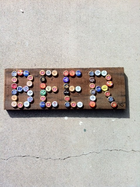 Items similar to beer bottle cap sign on wood on etsy for What can i make with beer bottle caps