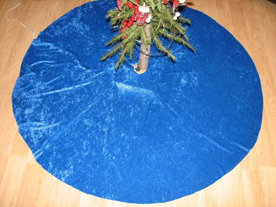 royal blue crushed velvet tree skirt by
