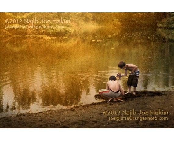 Boys by a Stream, The Rusted Fog of Nostalgia, Color Photo - DancingBugPhotos