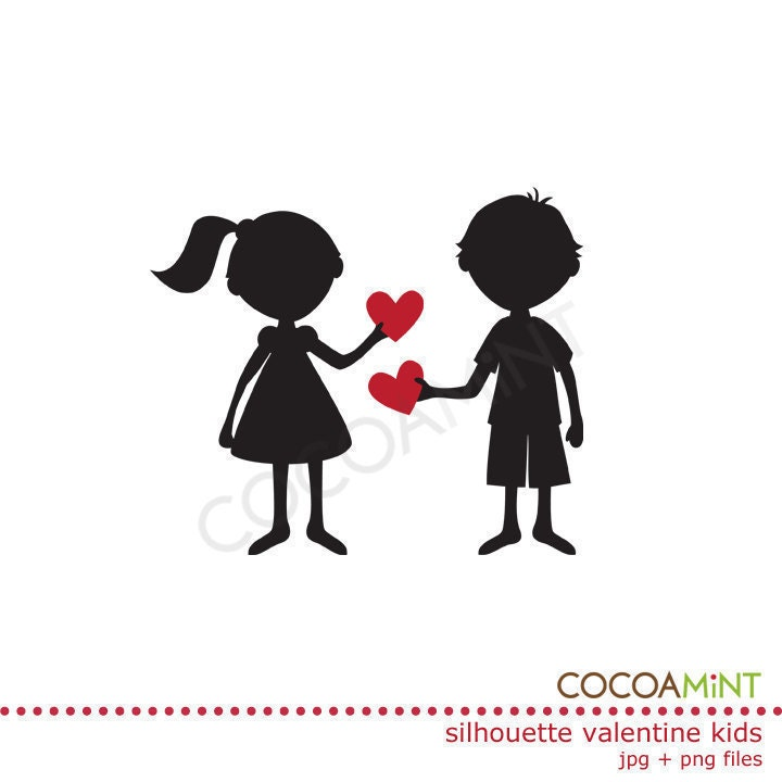 Silhouette Valentine Kids Clip Art By Cocoamint On Etsy