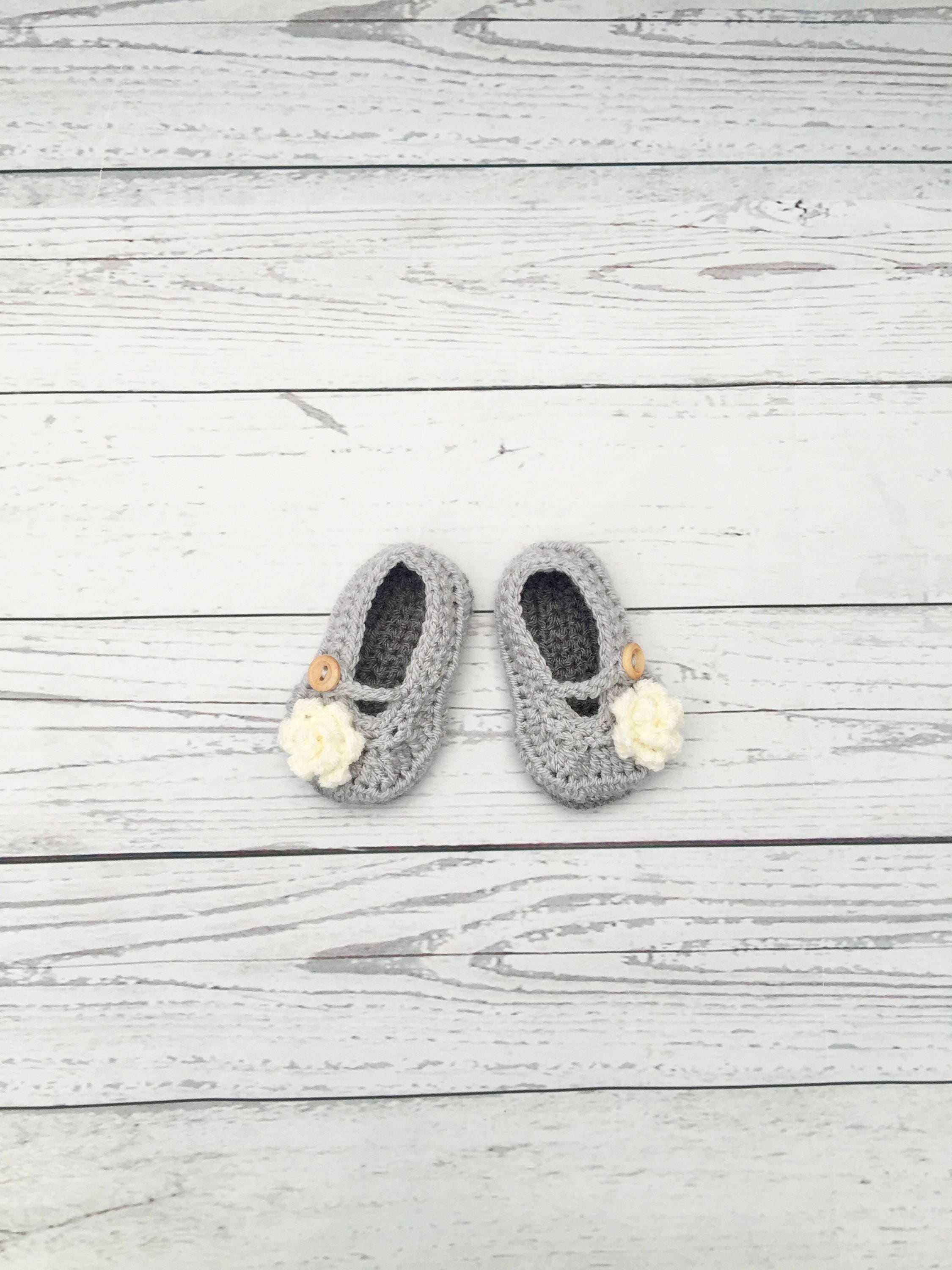 crochet flower shoes baby girl grey shoes crochet infant shoes christening shoes cream grey shoes new baby gift