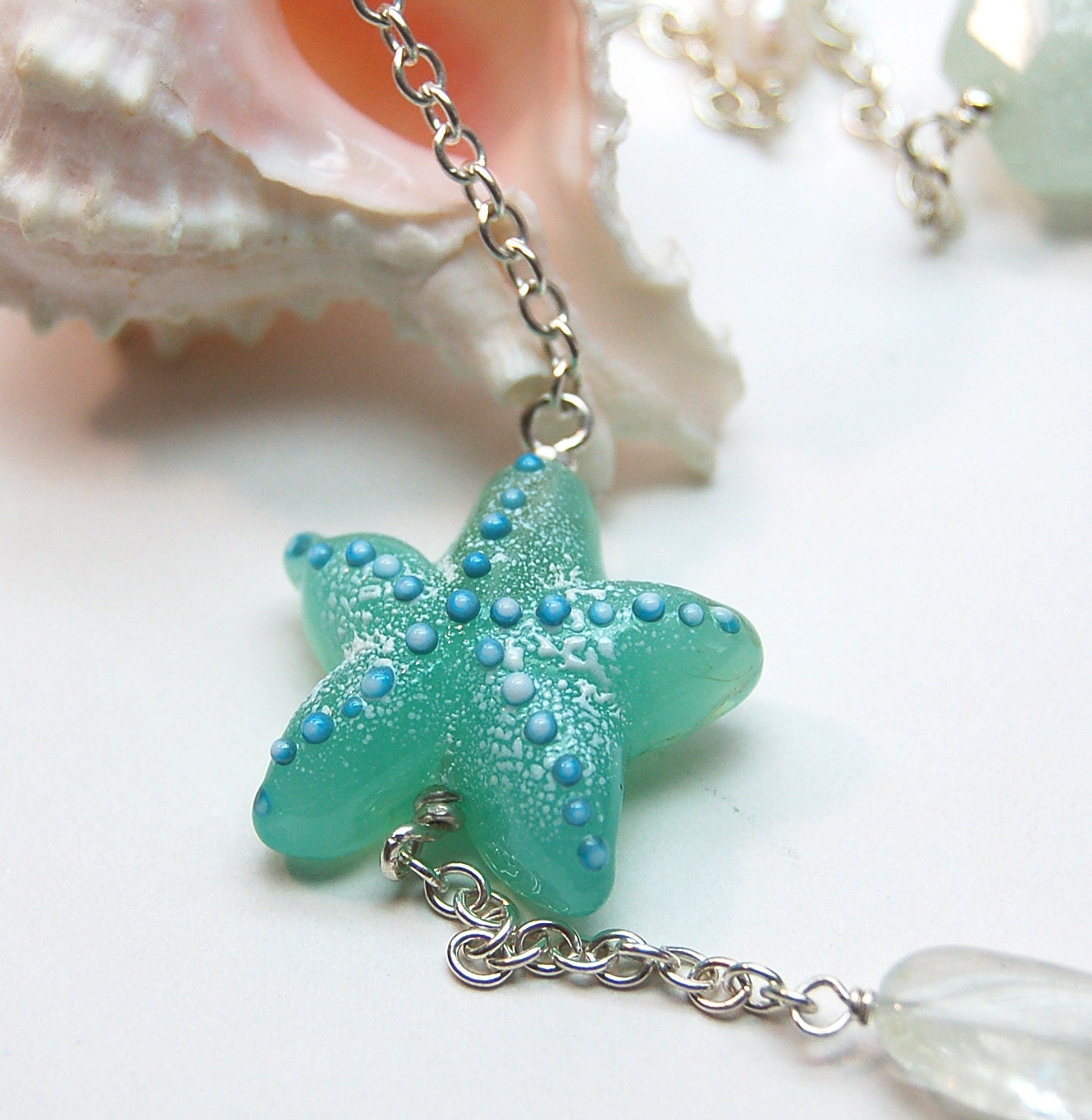 Aqua Teal Shoreline Lampwork Bead Long Necklace - aStudiobytheSea