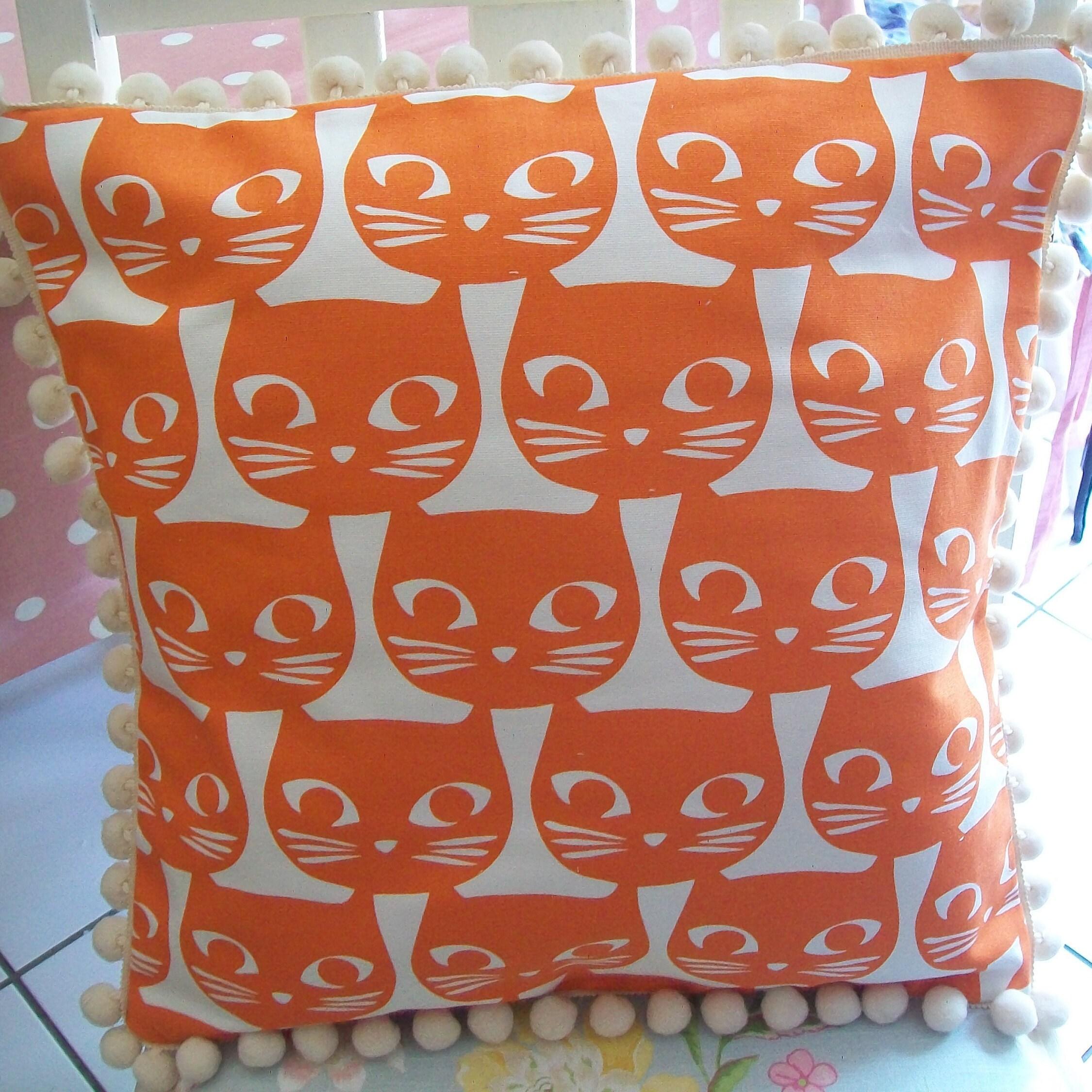 New Awesome Cat Face Fabric Cushion pom pomtrim Cushion 16 orange ivory off white Ikea cat fabric Laura Ashley Fabric Envelope Back