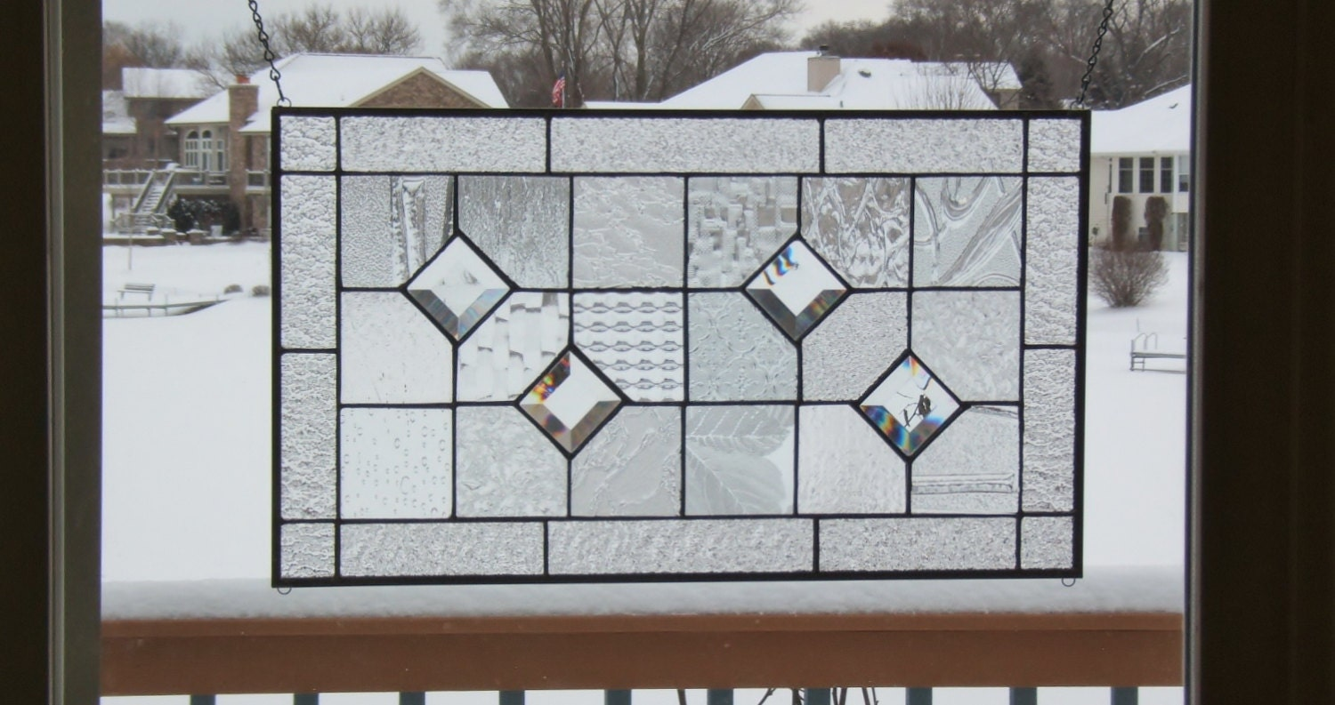 Stained glass panel window geometric clear quilt by SGHovel