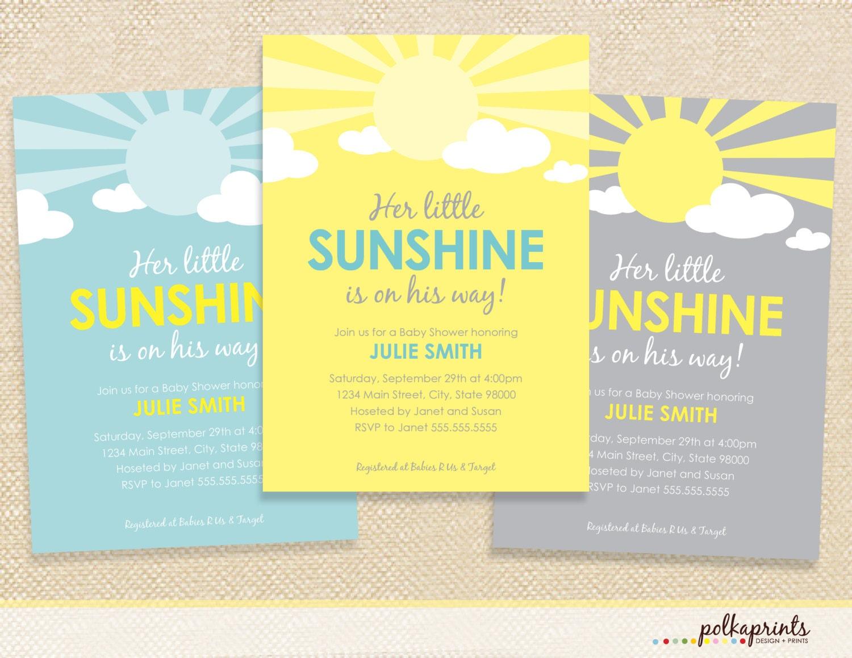 sunshine baby shower invitation set of 12 by polkaprints on etsy
