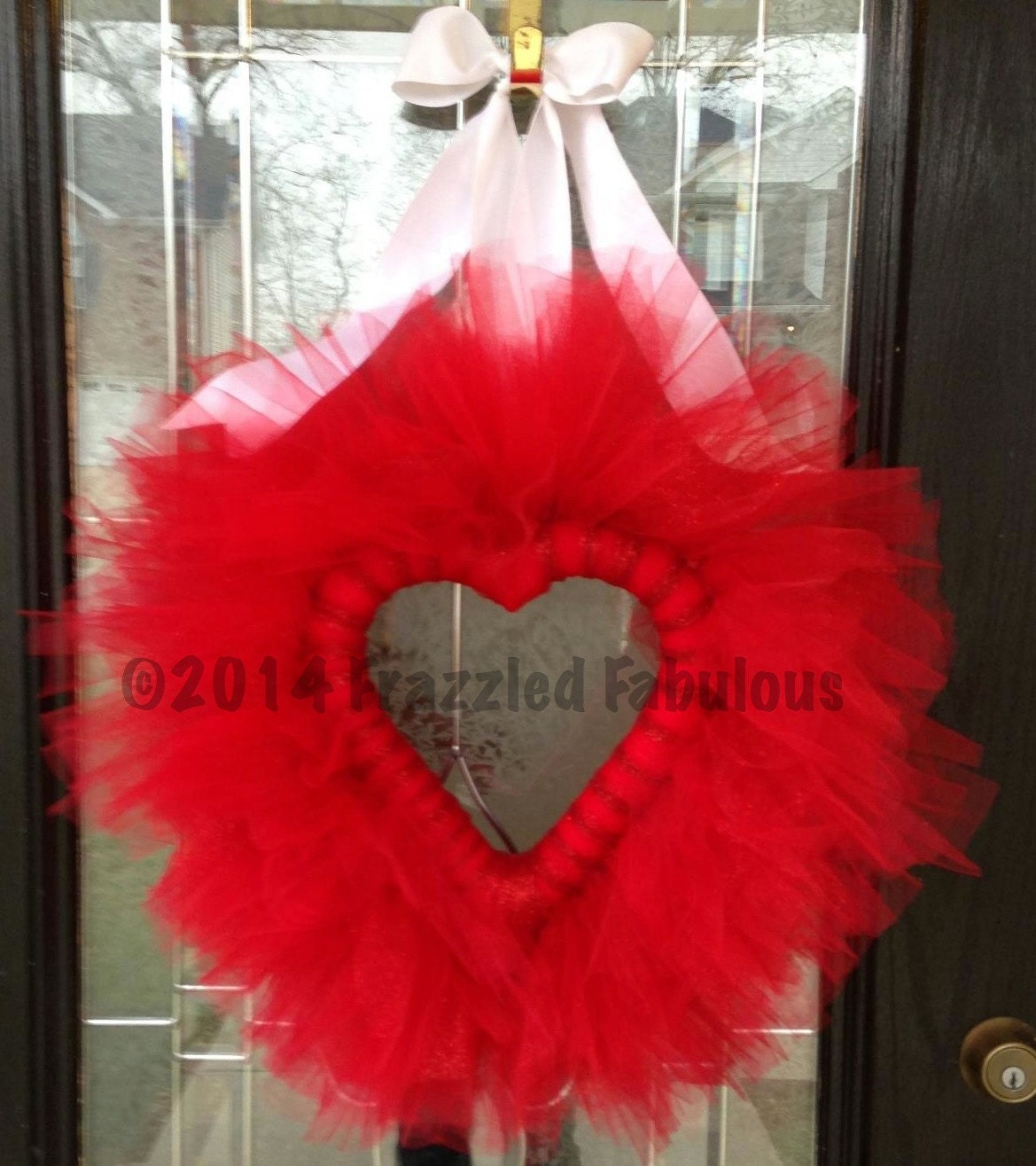 Items similar to valentine tulle wreath on etsy for Valentines jewelry dallas pa