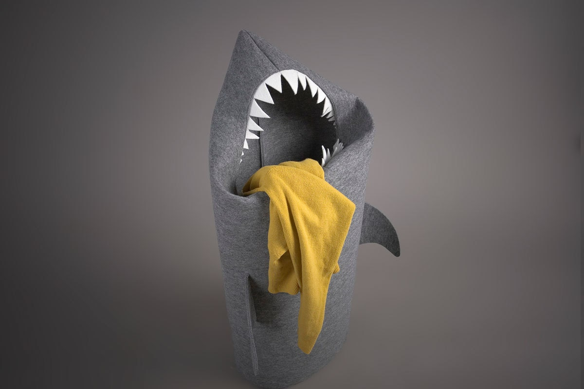 SHARK. Felt laundry basket for bathroom or children's room as a basket for toys. - Uczarczyk