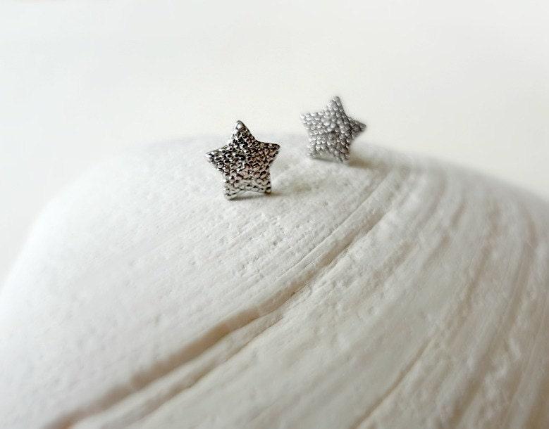 Small Star Earrings. Silver Star Studs. Textured Post Earrings - shopmirrormirror