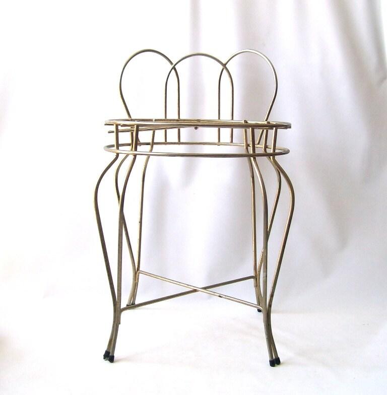 Vintage Metal Vanity Chair Furniture Gold Mid By