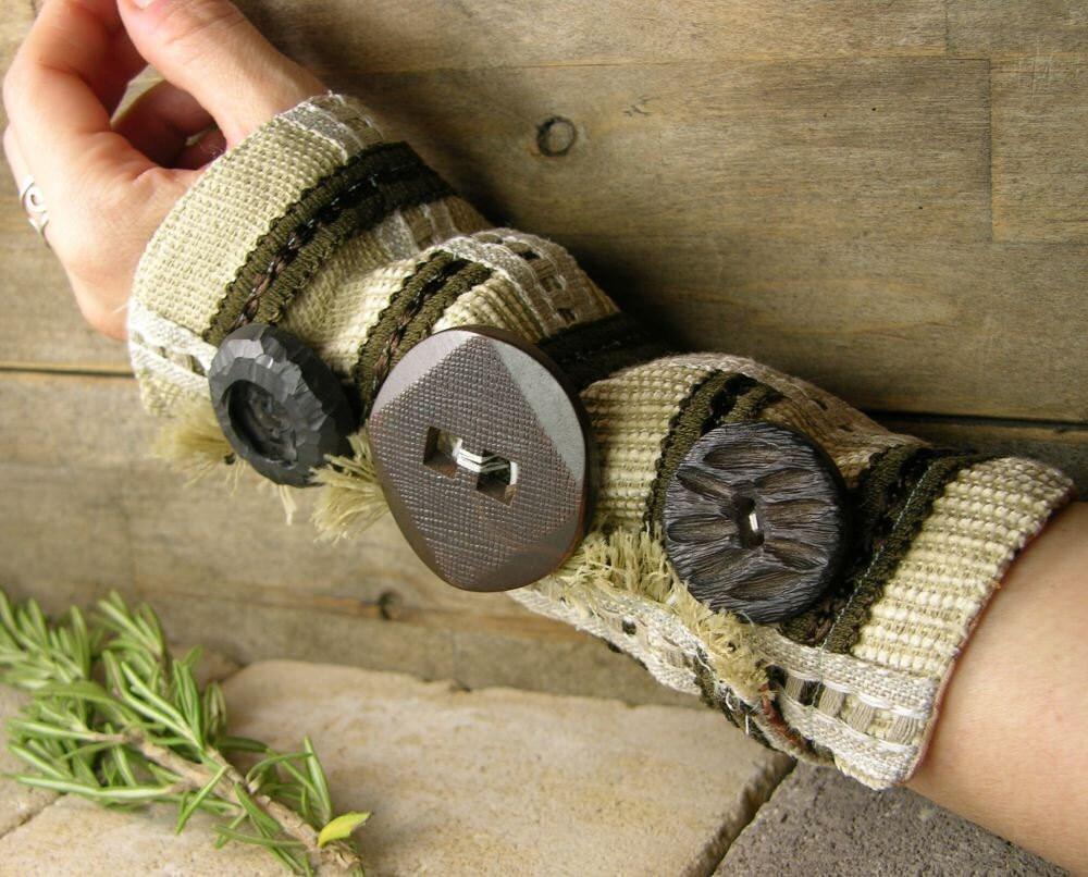 манжету экрю кофе нуга шоколадно-коричневого многократно использовать хлопковые ленты кнопки стимпанк Boho деревенском
