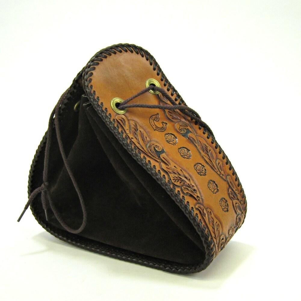 Vintage tooled leather and suede stirrup shaped handbag - RecentHistory
