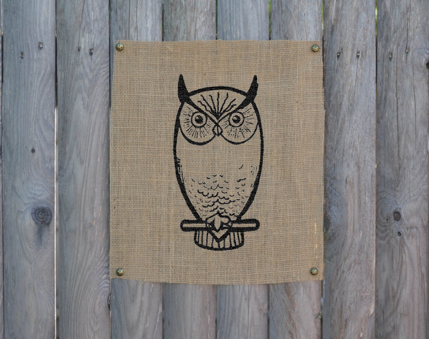 The Owl Screen Print Burlap Wall Art Wall Decor By