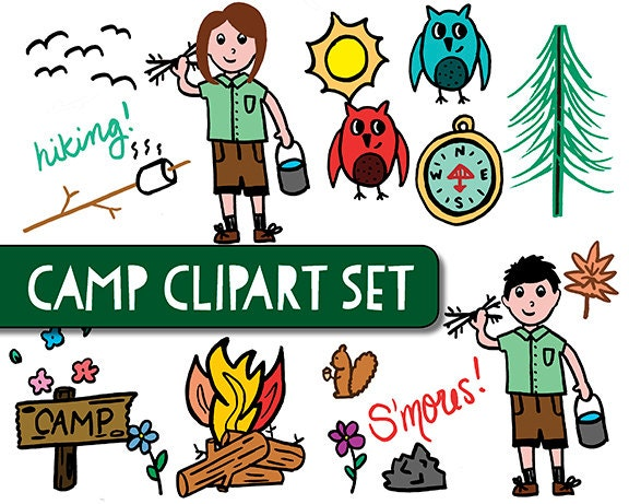 Girl Scout Camping Clipart INSTANT DOWNLOAD Camp clipart