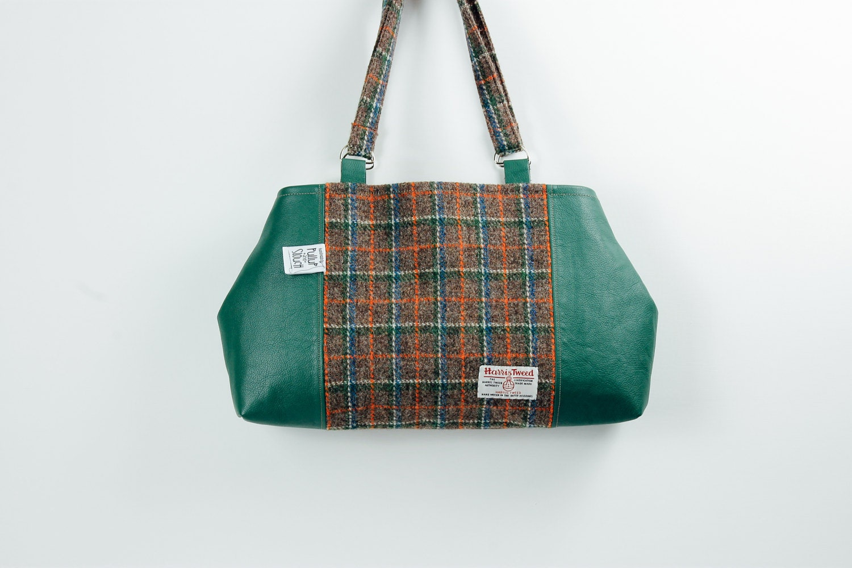 Harris Tweed and leather handbag Green leather and Harris Tweed handbag Harris Tweed purse Tartan and leather handbag Pure wool handbag
