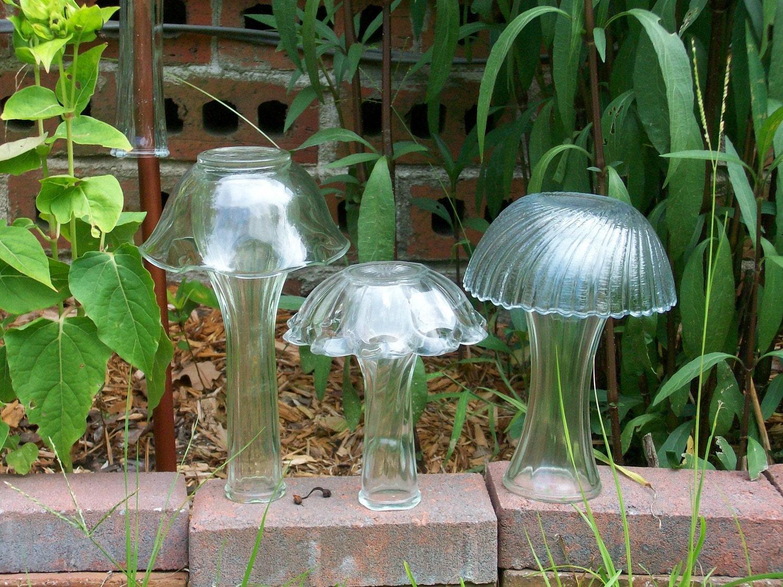 Glass Yard Art Mushrooms by DirtRoadDecor on Etsy
