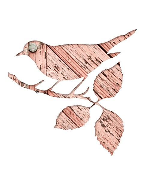 bird silhouette in pink, digital silhouette art, 11x14 bird print,  woodland nursery decor, whimsical animal art, peach salmon, scandinavian - bialakura