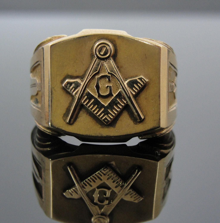 antique 14k masonic signet ring compass by msjewelers