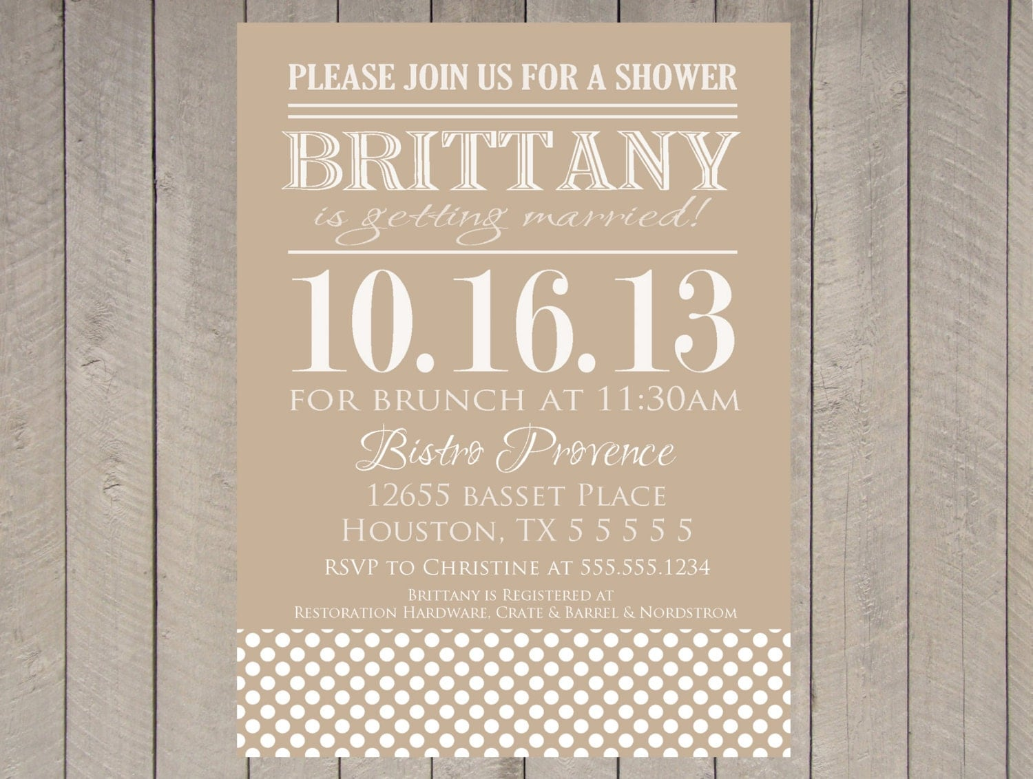 Vintage Bridal Shower Invitation Polka Dot Kraft Paper White ...