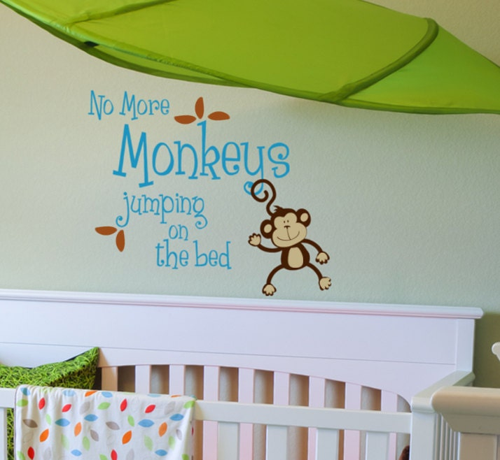no more monkeys jumping on the bed vinyl wall by. Black Bedroom Furniture Sets. Home Design Ideas