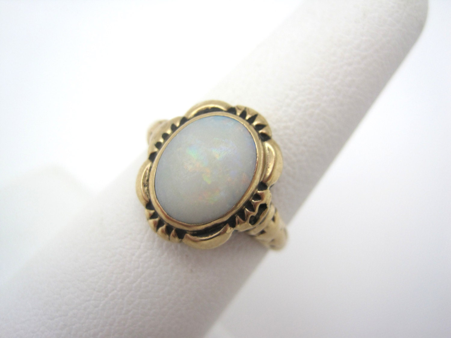 opal ring 14k gold antique deco opal by vintageinbloom