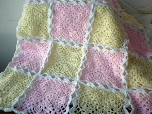 NEW - Crochet Baby Blanket  Pale Pink  Baby Pink  Pale Yellow  Baby Yellow  White Gift Christmas