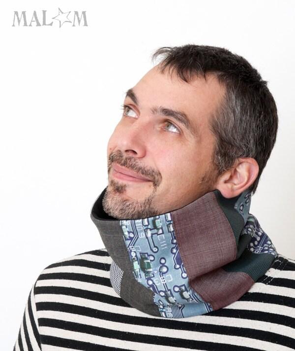 Men Scarf - Electronic Circuit Print - Geek cowl -  brown, grey, blue - Malam