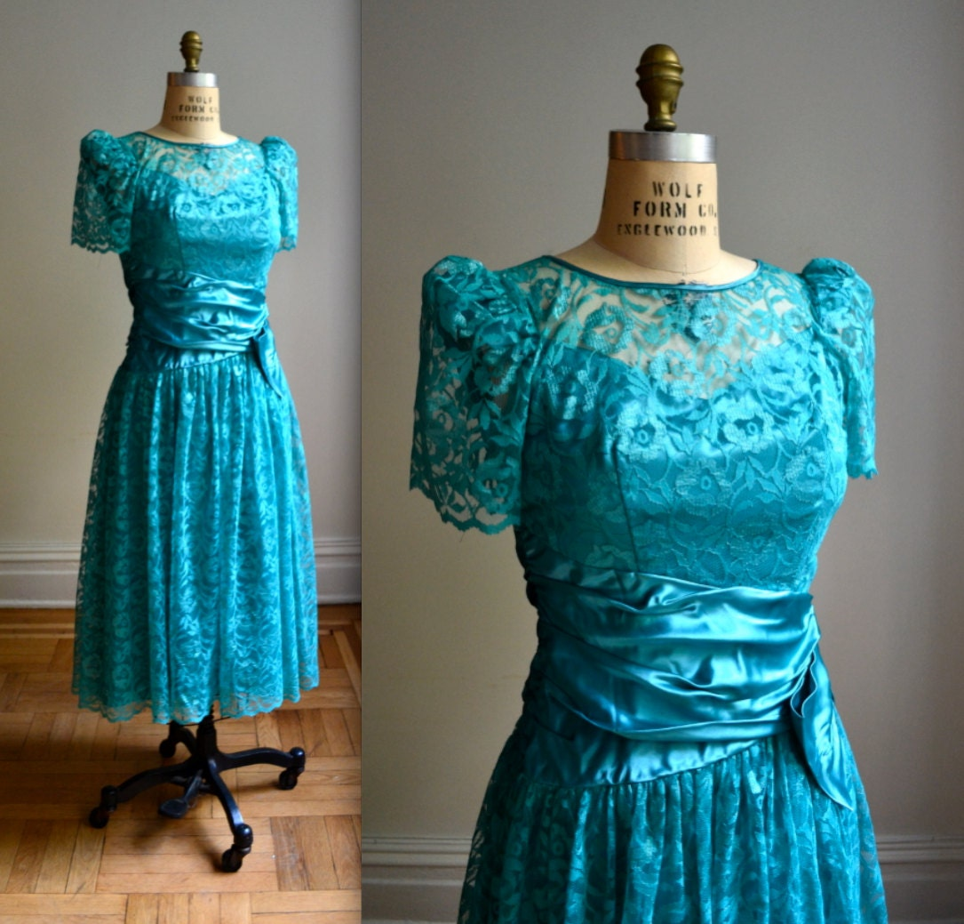 Vintage Lace 80s Prom Dress in Teal// Teal Lace by ...