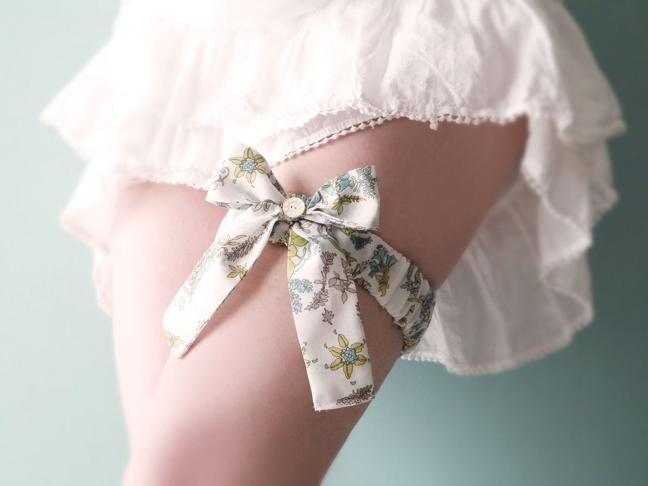 Bridal garter Romantic floral cotton French lingerie OOAK by Jye, Hand-made in France - Joliejye
