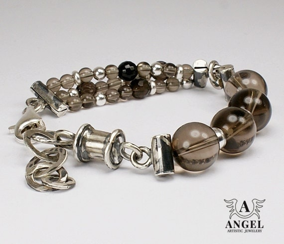 Handmade Bracelets, Sterling Silver, Coffee Quartz - Womens Bracelet - Unique Jewelry - AngelJK