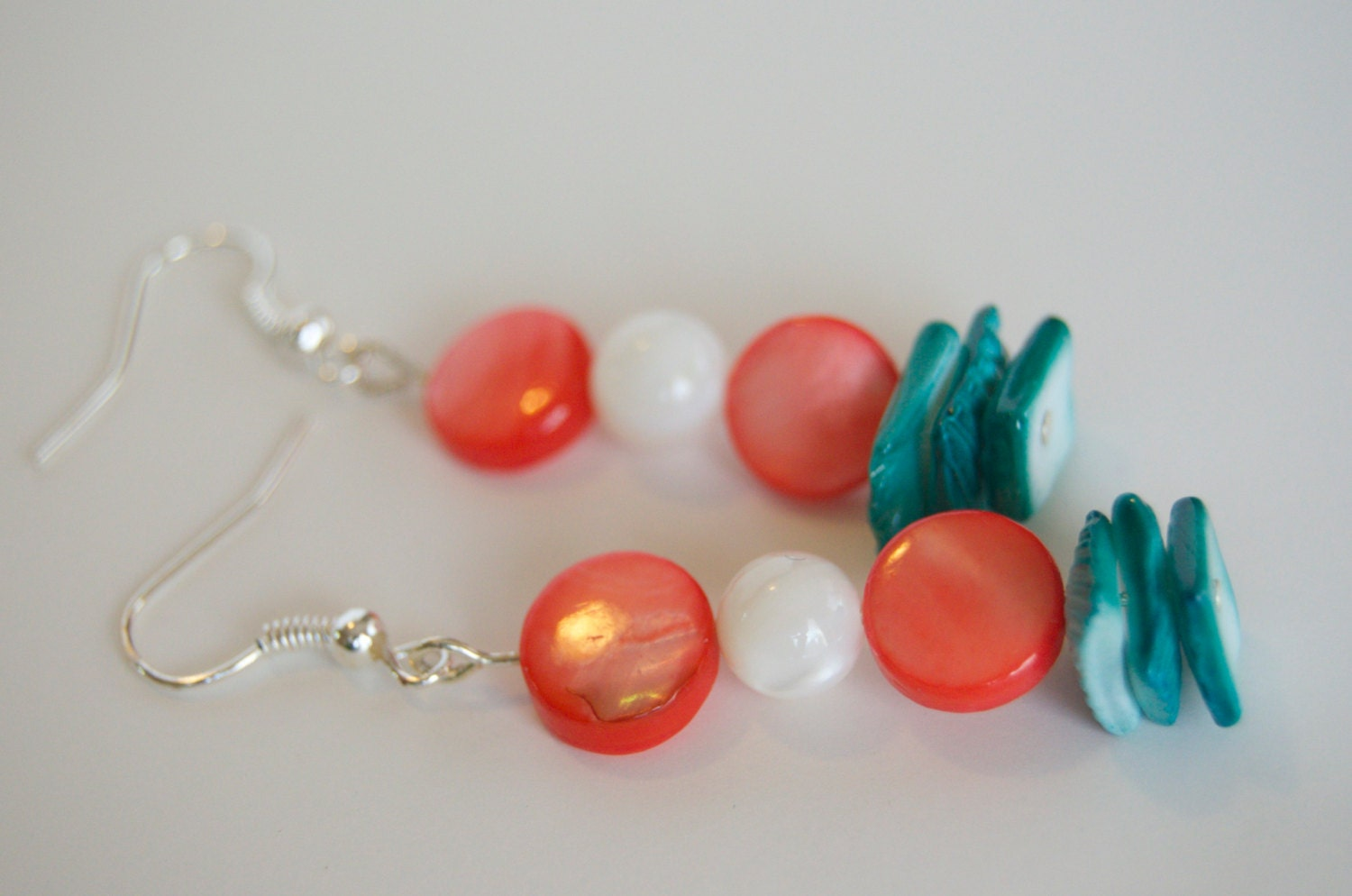 Beaded Dangle Earrings - Natural Materials - Shell - Teal and Pink - jubilantrendezvous