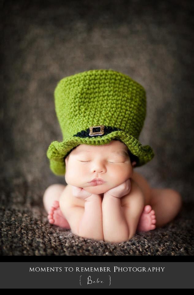 St Patricks Day Hat  - Newborn - Photo Prop - Green Brim Hat