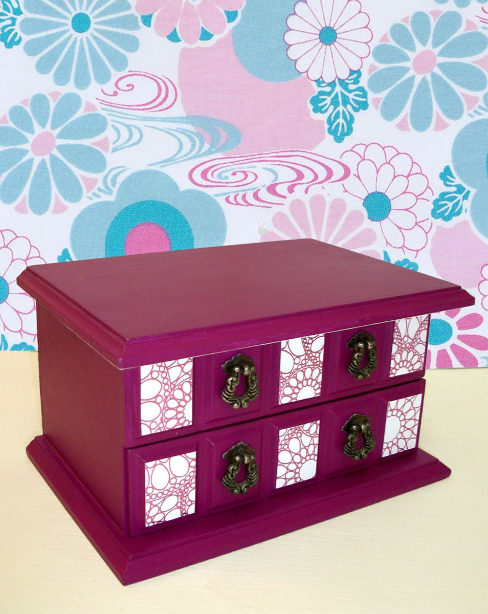 Jewelry Box in Black Raspberry Upcycled Vintage Painted