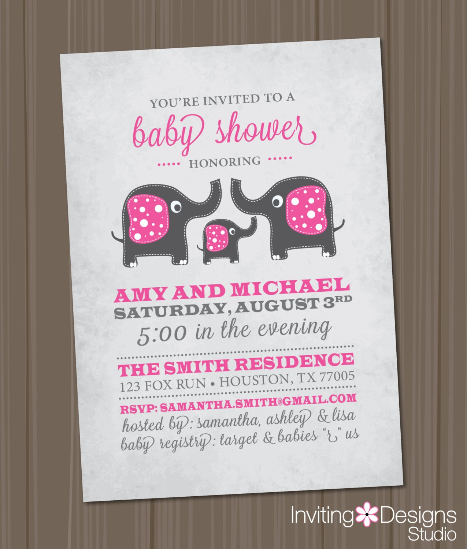 baby shower invitation elephant pink gray by invitingdesignstudio