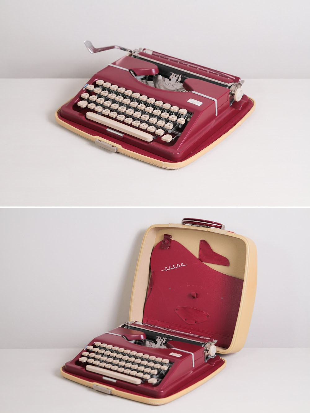 Late 1950s Adler Tippa Typewriter. Excellent fully working conditon. Dark red. German vintage typewriter. With Case. Mid century modern. - TypewriterWshop