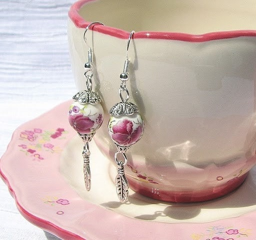 Chinese Porcelain Vintage Rose Earrings with Sterling Silver Hooks
