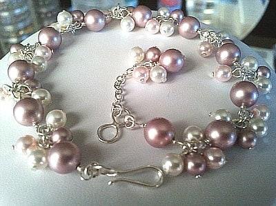 Powder Rose Pearl Flower Bracelet - Valentines Gift, Wedding Gift