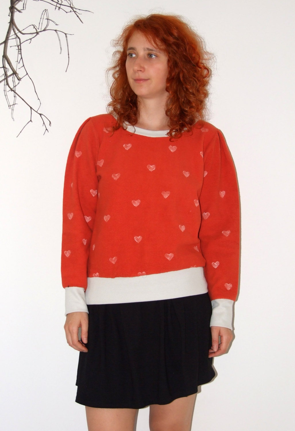 Handmade women s orange blouse sweater with white by robobambi