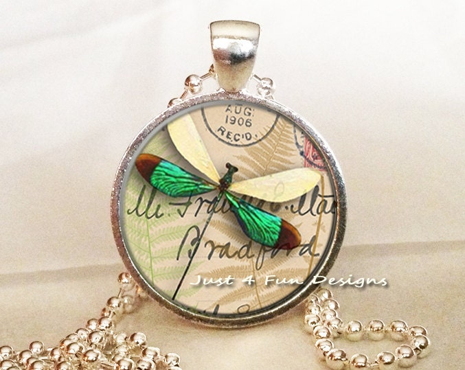 Delicate Dragonfly - Round Pendant in Silver Bezel - 25mm - Just4FunDesign