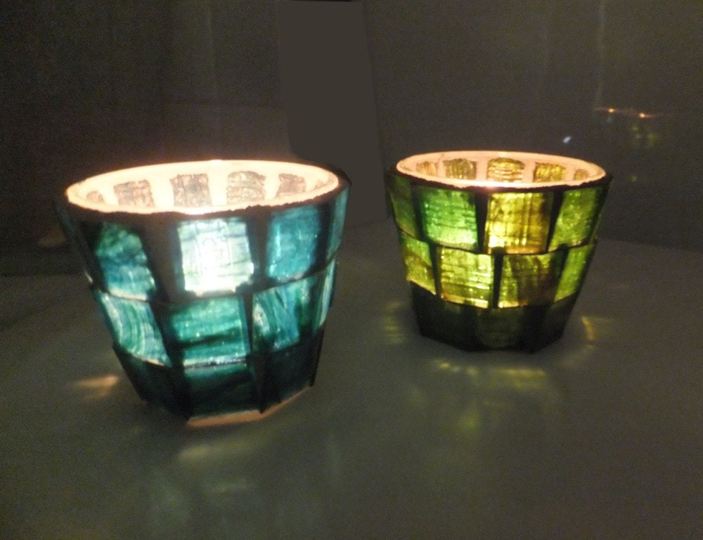 Mosaic Candle Holder, Green tealight votive - MollycatMosaics