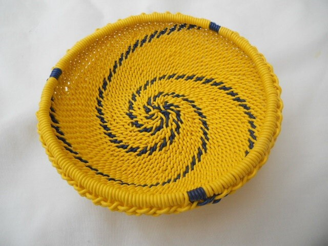 African Zulu Wire Basket Yellow and Blue - AppleCreekCrafts