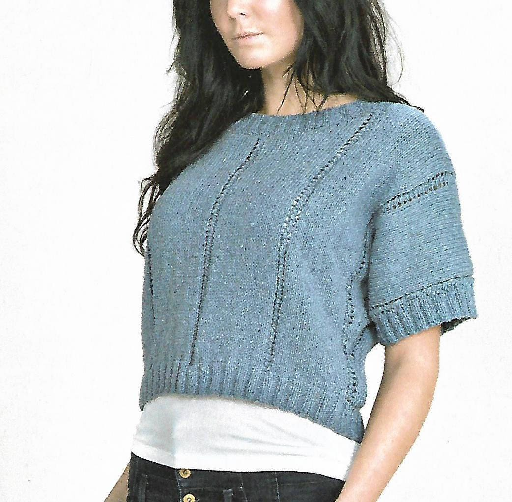knitting pattern womens ladies pullover top sizes 32 to 42 in double knitting pdf digital download