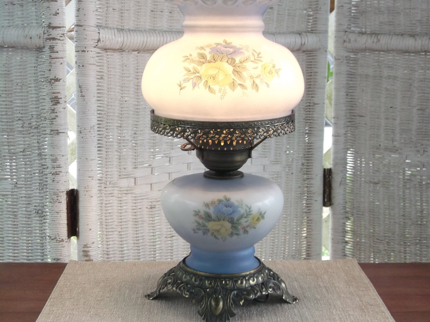 Painted Glass Oil Lamp Shades