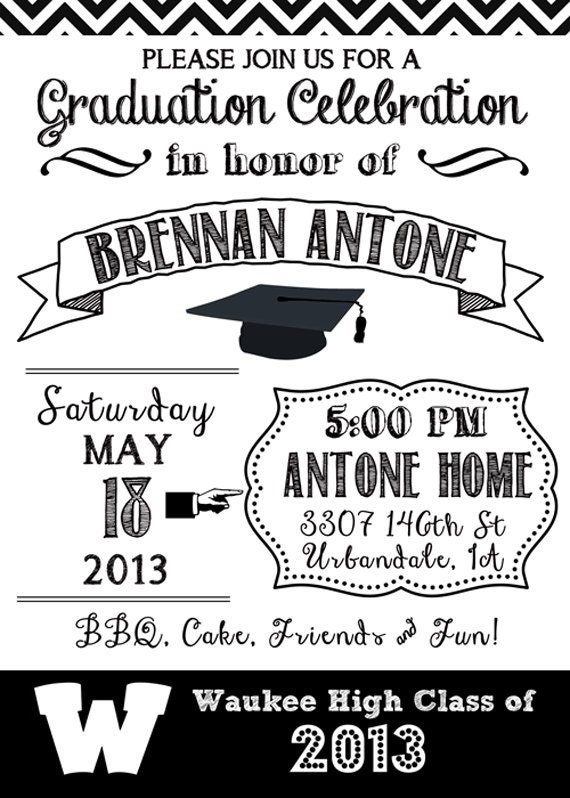 Black And White Graduation Party Invitations Pictures to Pin on – Black and White Themed Party Invitations