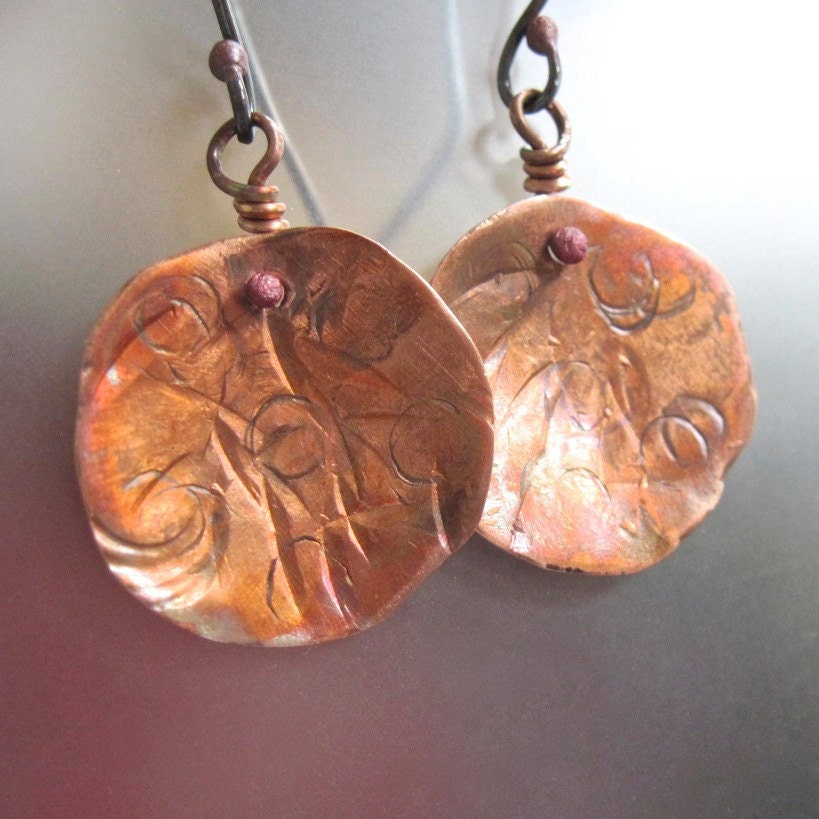 hammered and textured copper disk earrings in sterling silver