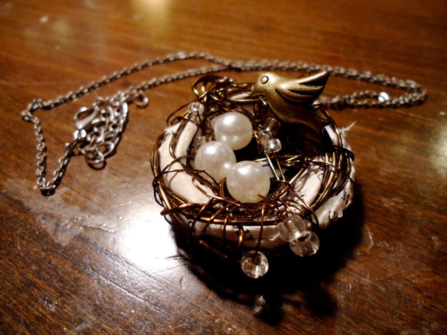 Wire Wrapped and Book Page Lined Birds Nest Necklace with Bird Charm