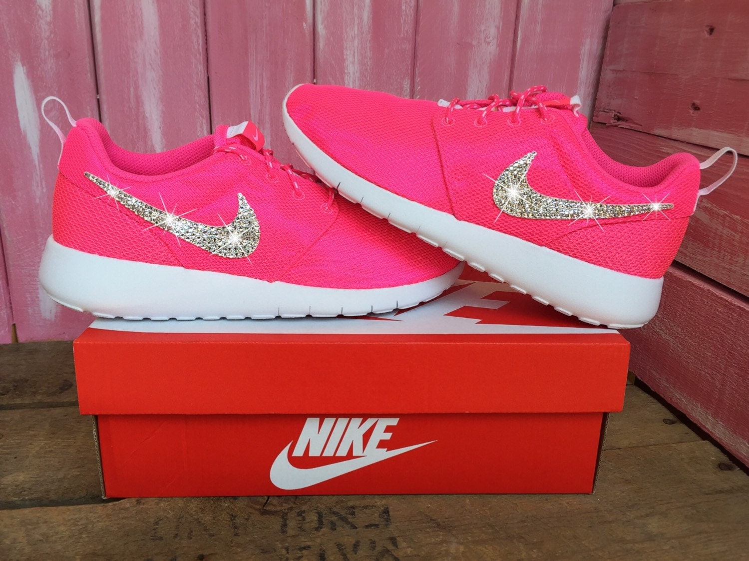 2a78cf4c59d0 durable service Blinged Preschool Swarovki Nike Roshe Shoes Pink by  ShopPinkIvy